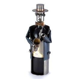 Saxofoonspeler wijnfleshouder
