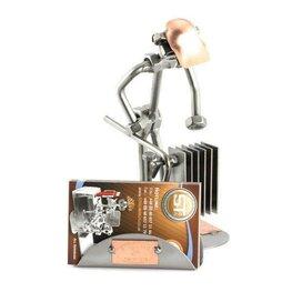 Verwarmingsmonteur met visitekaarthouder