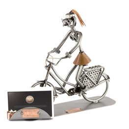 Hollandse fietser (vrouw) met visitekaarthouder