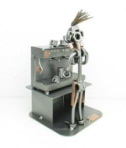 Barista met espressomachine (vrouw) beeldje